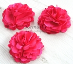 3 Pack Hot Pink Satin Tulle Mesh Flower Supplies